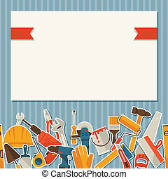 herstelling, en, bouwsector, illustratie, met, werkende ,...