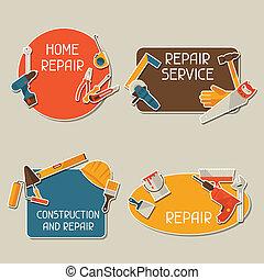 herstelling, en, bouwsector, stickers, set, met, werkende , tools.