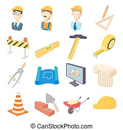 herstelling, en, bouwsector, werkende , gereedschap, iconen, set