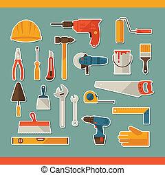herstelling, en, bouwsector, werkende , gereedschap, sticker, pictogram, set.