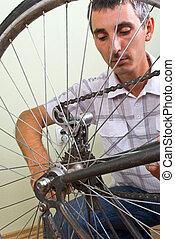 herstelling, fiets, dienst, bedreven