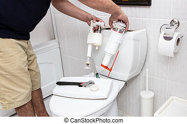 herstelling, gebruik, gereedschap, reservoir, man