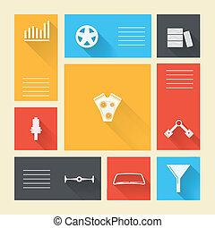 herstelling, gekleurde, iconen, auto, vector, plek, tekst