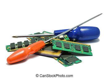 herstelling, hardware, vooruitgang, computerdelen