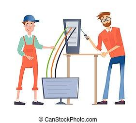 herstelling, herstelling, computers., computer, dienst, illustratie, network., vrijstaand, mannen, twee, informatietechnologie, achtergrond., vector, verbinden, witte , of