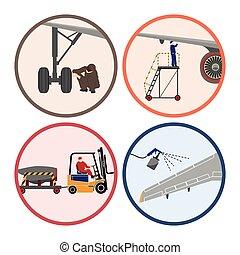 herstelling, herstelling, set, werktuigkundige, vliegtuig., vliegtuig, onderhoud, beelden