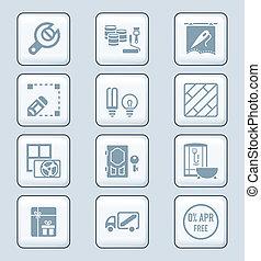 herstelling, iconen, reeks, technologie, thuis, |