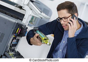 herstelling, jonge, fotokopieerapparaat, machine, digitale ,...