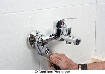 herstelling, kraan, installatiebedrijf, badkamer