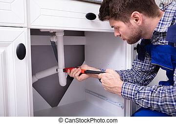 herstelling, pijp, installatiebedrijf, zinken