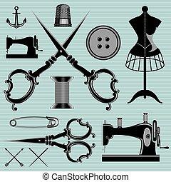 herstelling, set, items, onderwerpen, uitrusting, kleermaker...