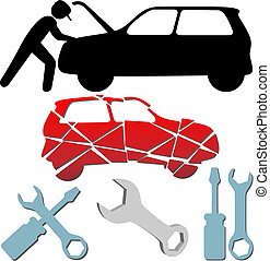 herstelling, set, onderhoud, auto, symbool, werktuigkundige, auto