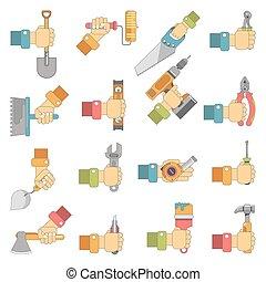 herstelling, set, plat, werken, vector, holdingshanden, iconen, gereedschap, meubelmakerij