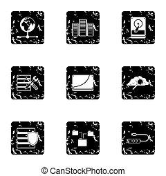 herstelling, stijl,  grunge, iconen,  Set,  Computer