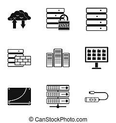 herstelling, stijl, iconen,  Set, eenvoudig,  Computer