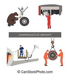 herstelling, stijl, set, onderhoud, plat, vliegtuig, onderdelen, achtergrond, witte