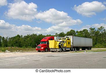 herstelling, twee, vrachtwagens, stoppen