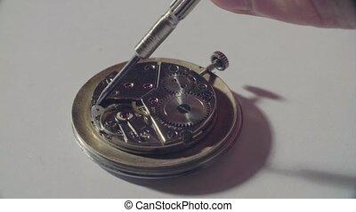 herstelling, van, de, oud, klokken samenstel van bewegende delen