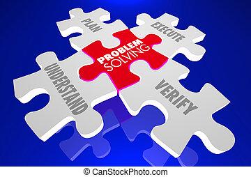 herstelling, vaststellen, het oplossen, illustratie, stukken, onrust, probleem, uitgeven, raadsel, 3d