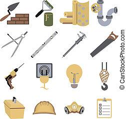 herstelling, vector, iconen, illustratie, symbolen, bouwsector, gereedschap
