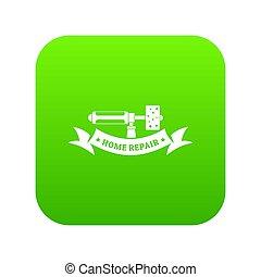 herstelling, verpulveren, groene, pictogram