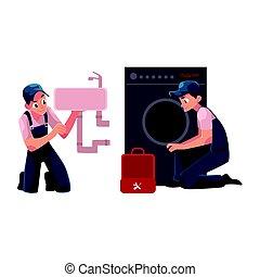 herstelling, was, specialist, repareren, wassen, installatiebedrijf, machine, kom, loodgieterswerk, hersteller