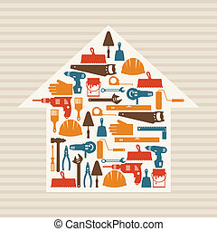 herstelling, werkende , icons., bouwsector, illustratie, gereedschap