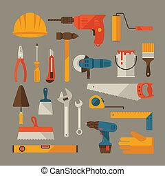 herstelling, werkende , set., bouwsector, gereedschap, pictogram