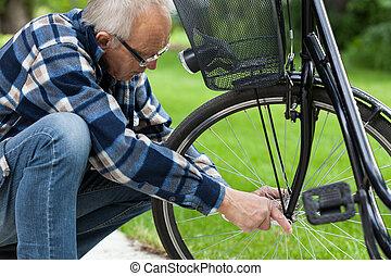 herstelling, wiel, fiets, man