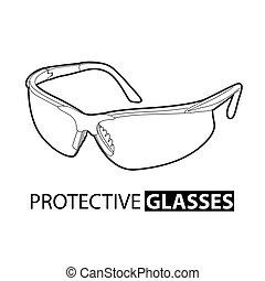 herstelling, witte , veiligheid, achtergrond, bril