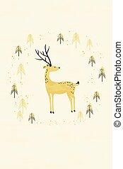 hertje, in, winter, pijnboom woud, kaart