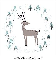 hertje, in, winter, pijnboom woud, vrijstaand, op, white.