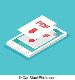 herunterladen, app, smartphone, concept., isometric.