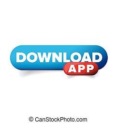 herunterladen, app, taste, vektor