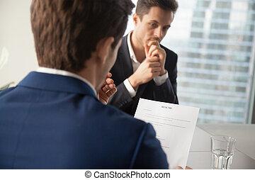 hervatten, directeur, verhuring, werk, kandidaten, lezende