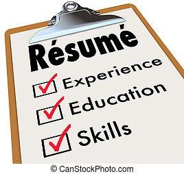 hervatten, vaardigheden, controlelijst, kwalificaties,...