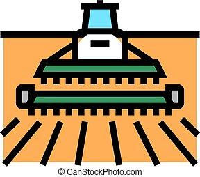 hervesting machine color icon vector illustration