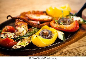 hervido, pulpo, con, vegetales