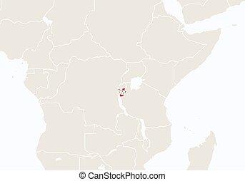 hervorgehoben, burundi, afrikas, map.