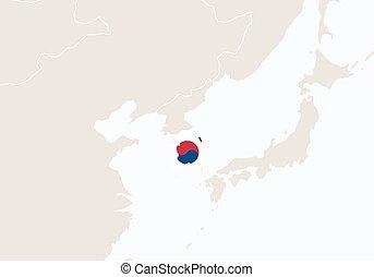 hervorgehoben, korea, map., südliches asien