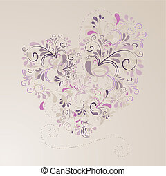 Herz aus Ornamenten mit beigem Hintergrund