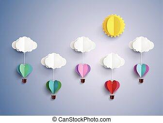herz, balloon, heiß, form., luft