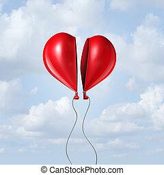 herz,  balloon, zusammen