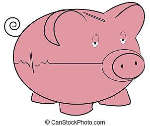 herz, begriff, flatline, geld, -, schweinchen, rhythmus, bank