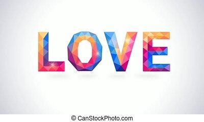 herz, begriff, liebe, romantische , polygonal, animation, video, card.
