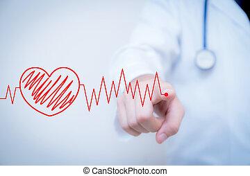 herz, begriff, medizin, kardiogramm, schreiben, teil, finger, rotes , examination.
