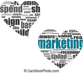 herz, begriff, wort, marketing, sozial, etikett, medien, wolke