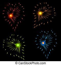 herz, birst, firework, geformt