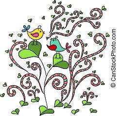 herz, blatt, abstrakt, baum, zwei, lieben vögel