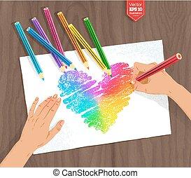 herz, bleistifte, regenbogen, farbe, hand, zeichnung